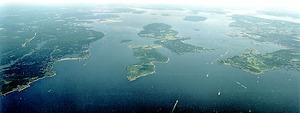 Aerial photo of Narragansett Bay.