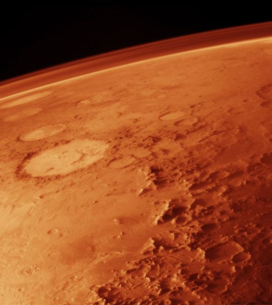 Atmosphere of Mars taken from low orbit