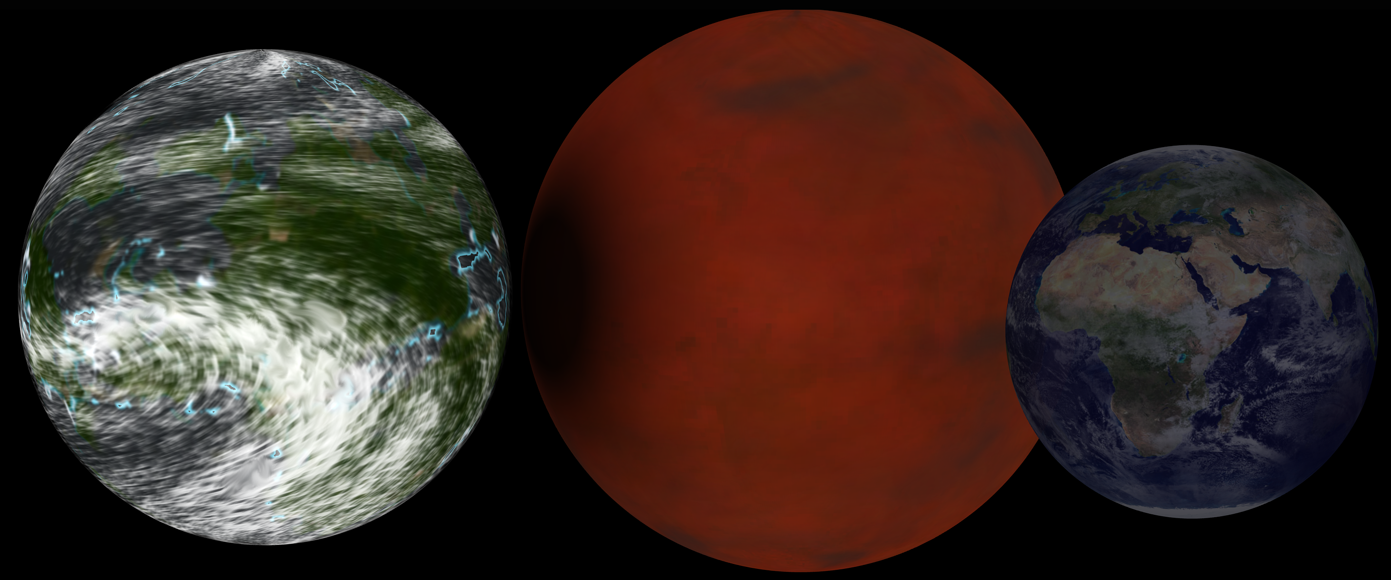 Hypothetical super earth next to Earth for comparison.