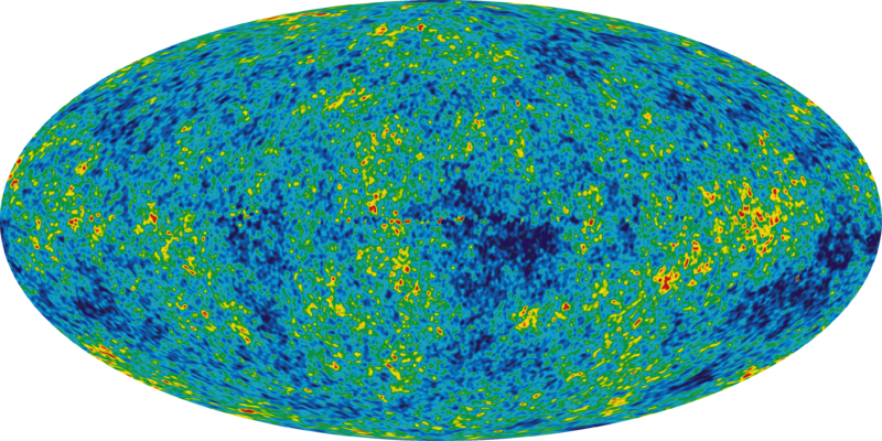 The Cosmic Microwave Background temperature fluctuations from the 5-year Wilkinson Microwave Anisotropy Probe data seen over the full sky.