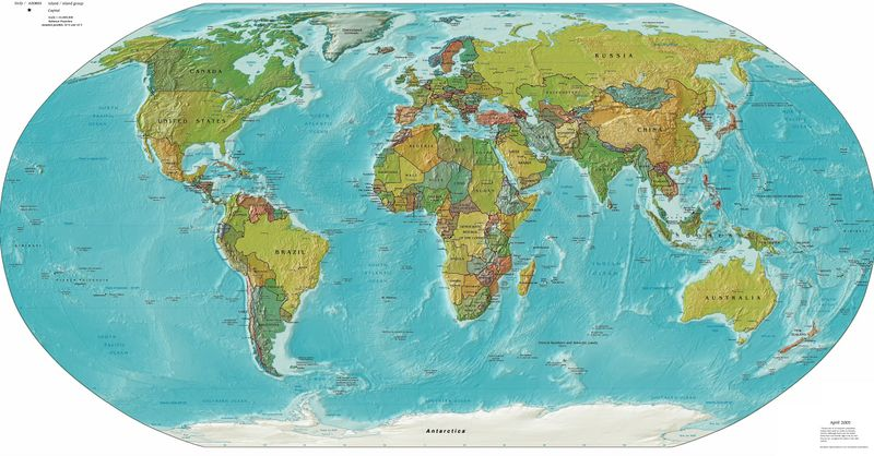 A Political and Physical Worldmap from end of 2005.