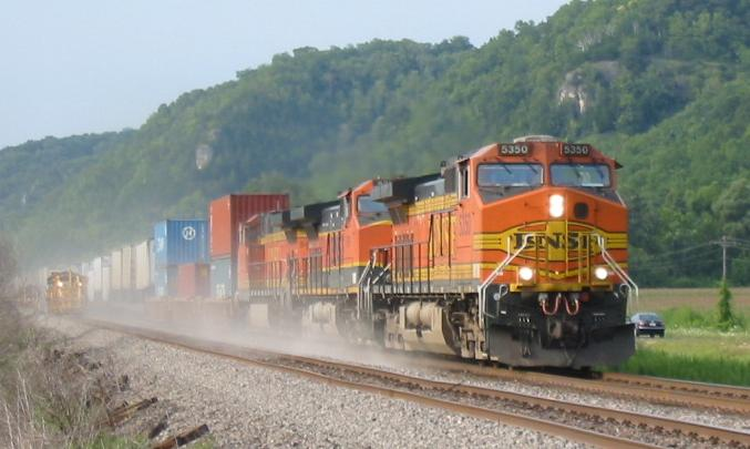 An eastbound BNSF train at Prairie du Chien, Wisconsin.