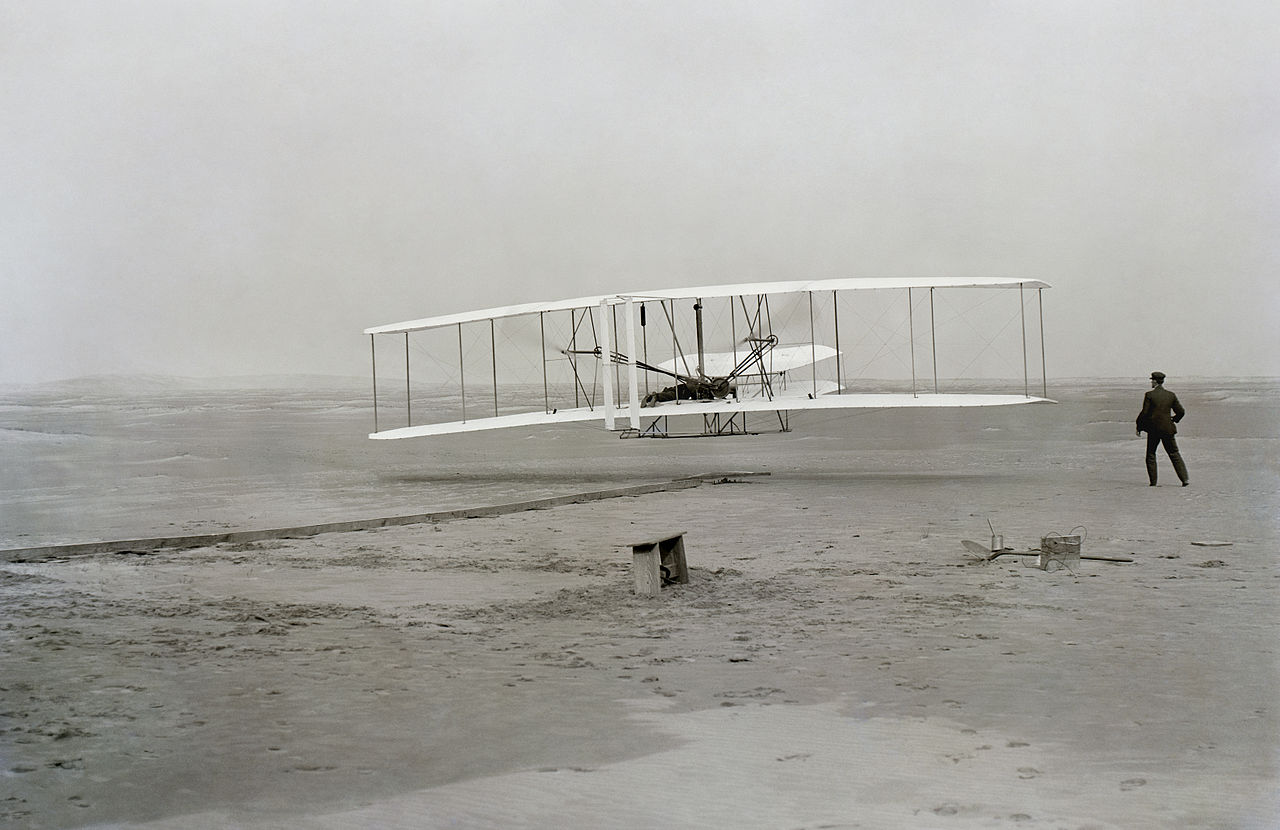 First successful flight of the Wright Flyer, by the Wright brothers.