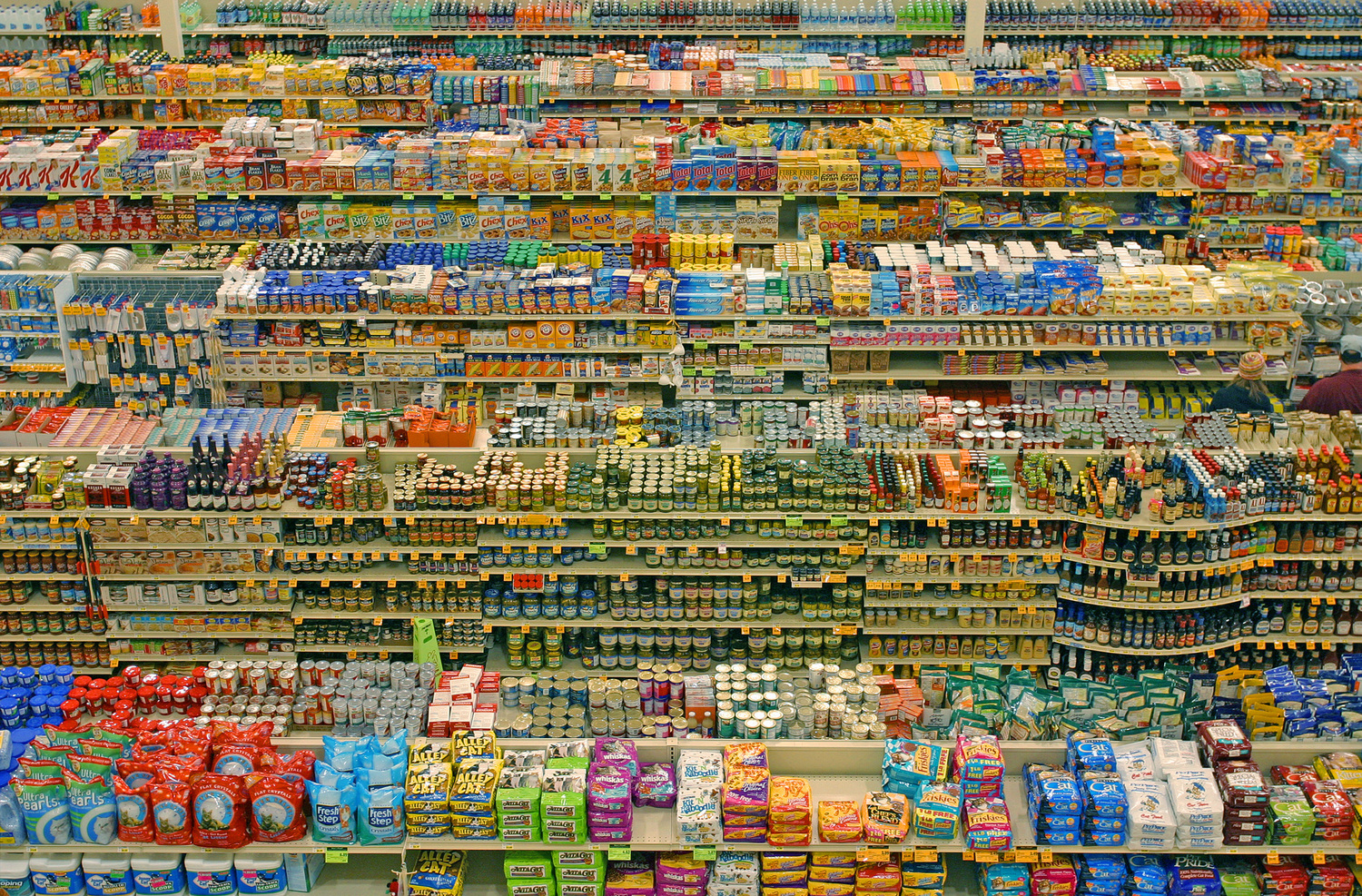 Stacked supermarket shelves