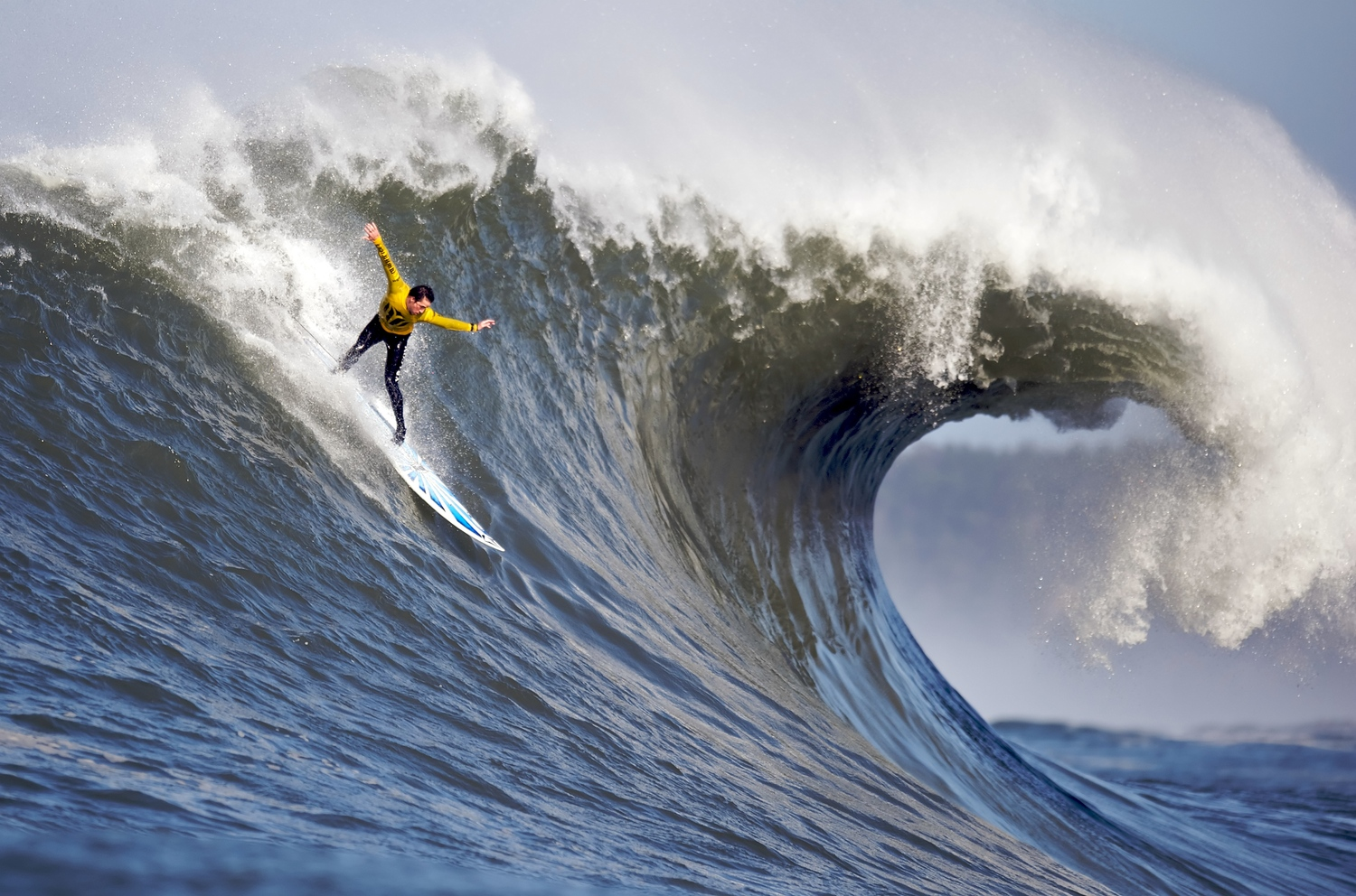 2010 Mavericks surfing competition. The image was taken from a boat.