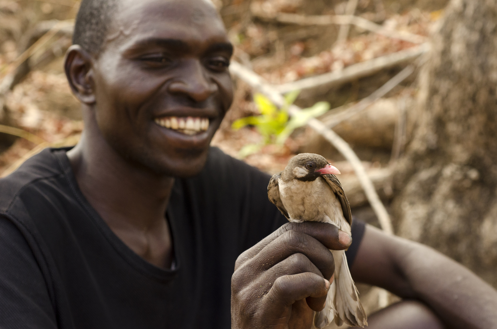 Honey hunter holding a male honeyguide