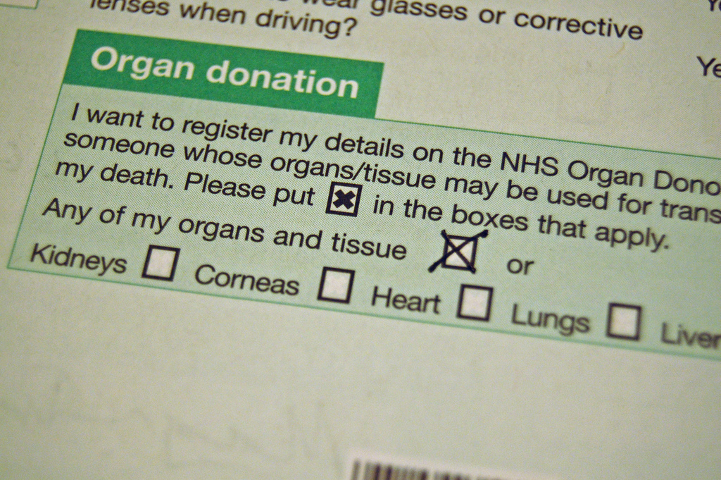 Organ donation form