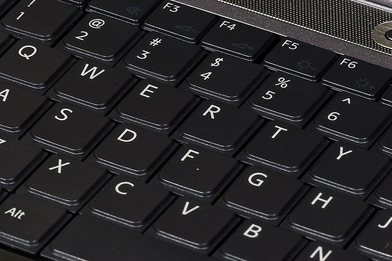 QWERTY keyboard, on 2007 Sony Vaio laptop computer.