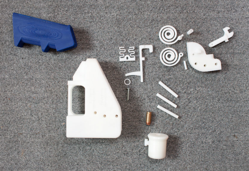 Pieces of the first 3D printed gun