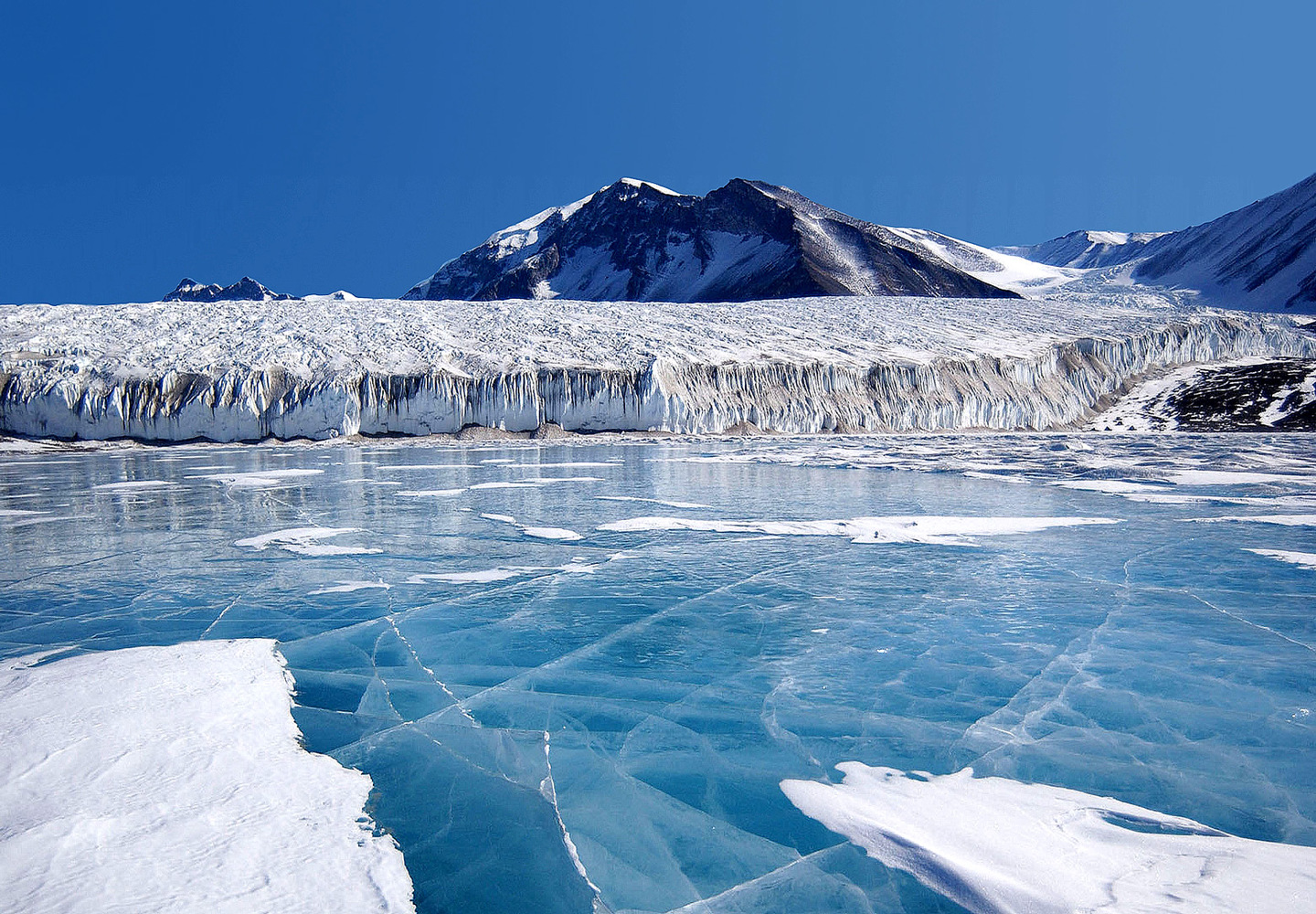 The blue ice covering Lake Fryxell, in the Transantarctic Mountains
