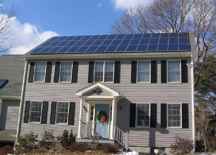Photovoltaic solar panels on the roof of a house near Boston Massachusetts