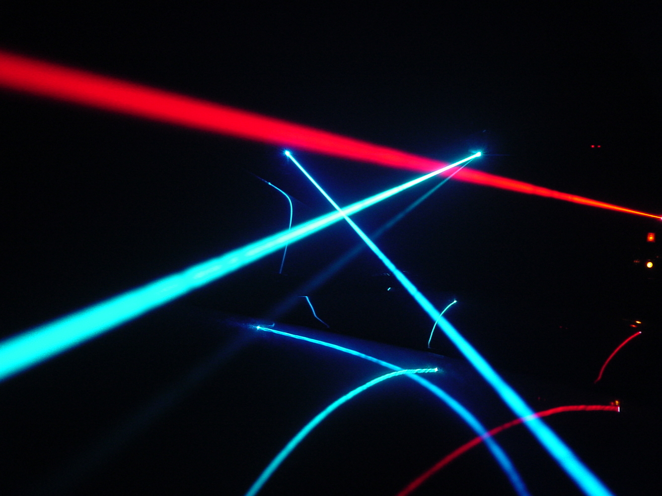 Argon-ion and He-Ne laser beams
