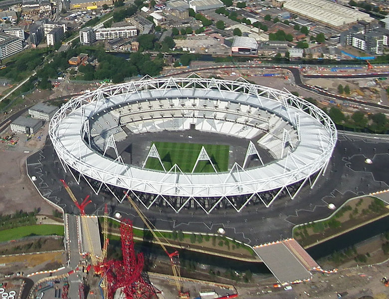 June 2011 - Aerial photo of the Olympic Park main stadium and Orbit tower under construction