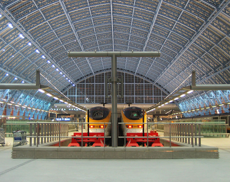 Eurostar trains in the renovated St Pancras Station, London.