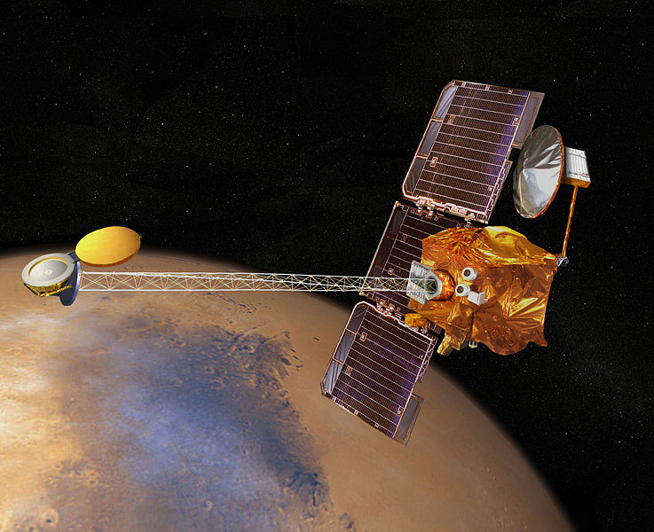 Artistic impression of the 2001 Mars Odyssey on martian orbit
