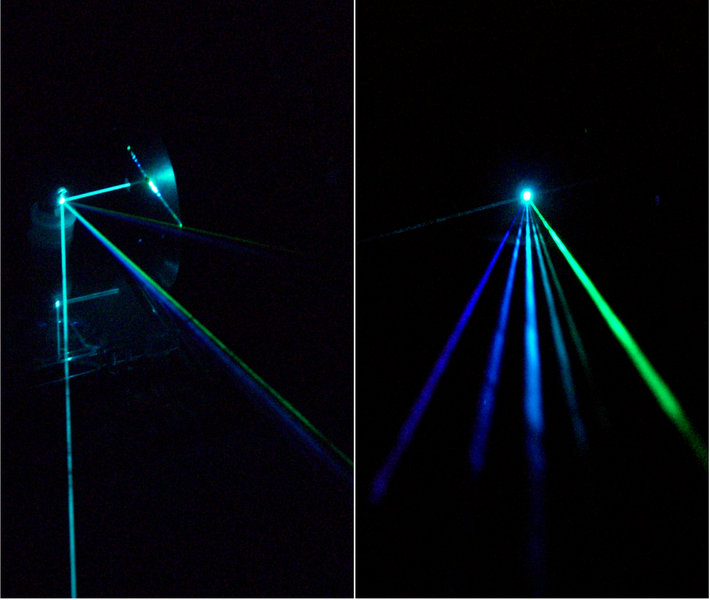 Argon laser beam separated into several beams at different wavelengths
