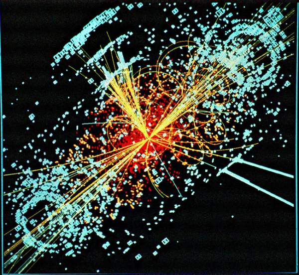 Simulated Higgs particle event