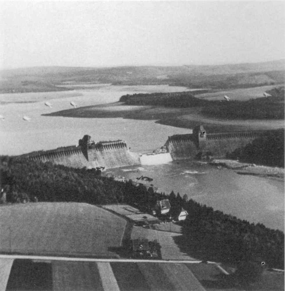 Photograph of the breached Mahne Dam