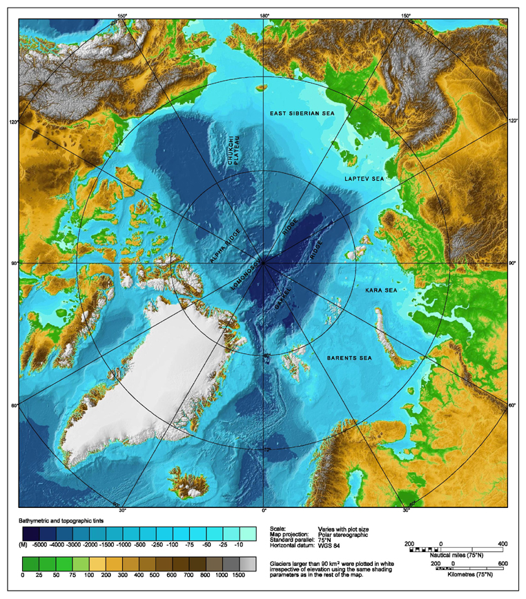 Bathymetric map of the Arctic Ocean