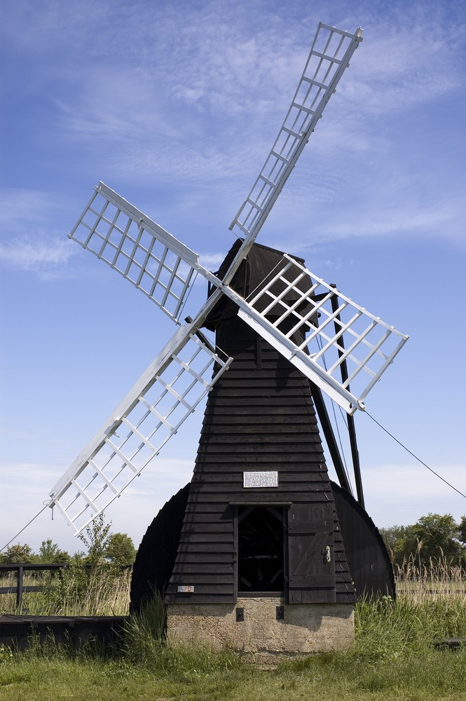 The Windpump at Wicken Fen, Cambridgeshire. This windpump is the only working wooded windpump in the Fens.