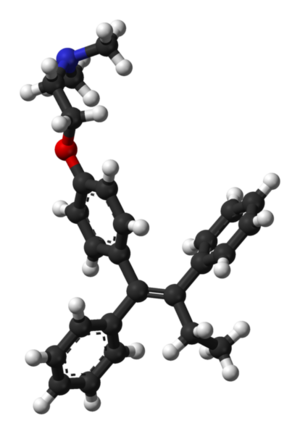 Ball-and-stick model of the tamoxifen molecule, as found in the solid state.