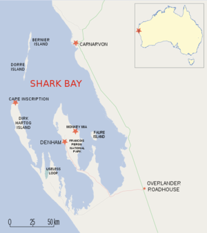 Map of Shark Bay region, Western Australia