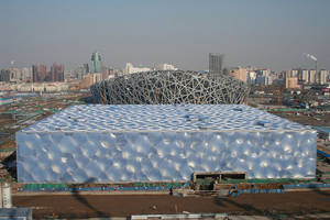 Beijing National Aquatics Centre and Beijing National Stadium (background)