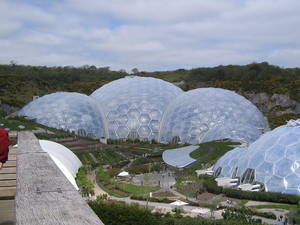 The Eden Project established in 2000 in Cornwall, England. A modern botanical garden exploring the theme of sustainability