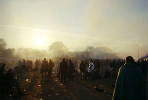 Dawn breaks at Glastonbury Festival in the year 2000