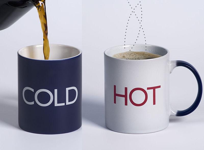 A temperature sensitive mug