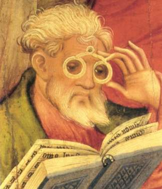 The 'Glasses Apostle' in the altarpiece of the church of Bad Wildungen (Germany). Painted by Conrad von Soest in 1403, the 'Glasses Apostle' is considered the oldest depiction of eyeglasses north of the Alpes.