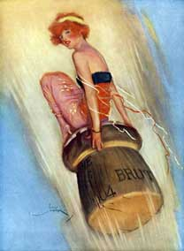 Grape-Shot: 1915 English magazine illustration of a lady riding a champagne cork - From The Lordprice Collection