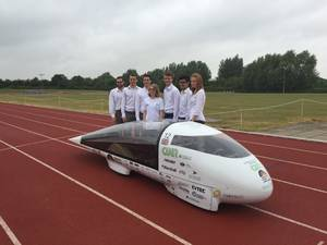 The CUER team with Evoltuion, their solar powered car