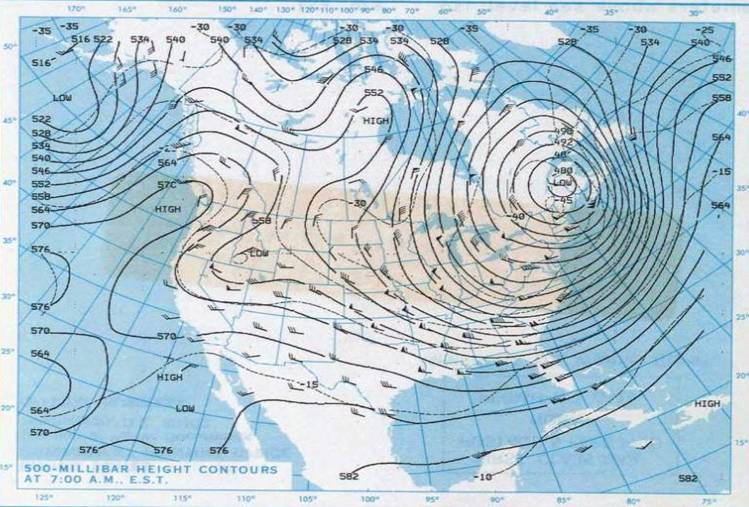 Polar vortex over America in 1985