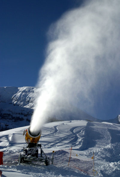 Snow cannon in Wildhaus in Switzerland.