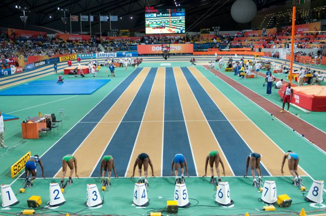 Women 60 m final during Doha 2010 World Indoor Championships