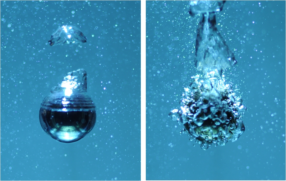 Image of a 2 cm heated steel sphere cooling in boiling water.