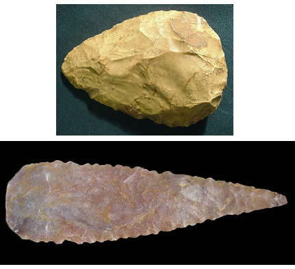 Figure 1: A comparison of Neanderthal and Modern Human Stone Tools. The Mousterian Tool Tradition is much less complex than modern human traditions. Wynn and Coolidge argue that complex tool design is evidence of more complex thought or