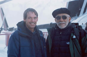 Bruce Wright (left) accompanied Ed Bradley, of 60 Minutes, a popular television news program, to Prince William Sound, Alaska to do a story on the Exxon Valdez oil spill.
