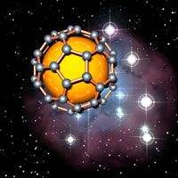 This fantasy image shows a fullerene, a spherical, football-like structure comprised of 60 carbon atoms. Sir Harry Kroto won the Nobel Prize in 1996 for their discovery, opening up an entire new branch of chemistry. (Image courtesy of Chris Ewels - www.ewels.info).