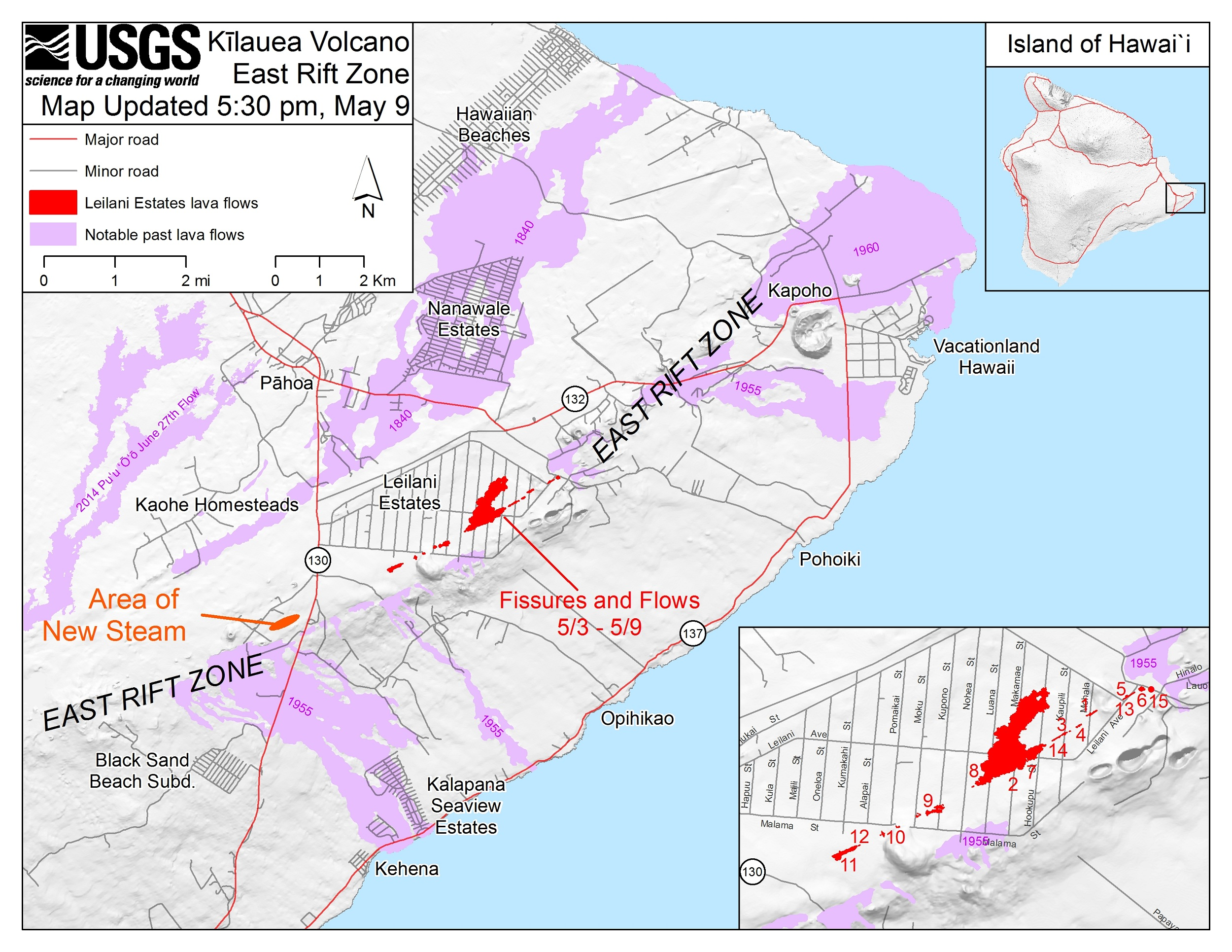 This map shows the locations of fissures and an 'a'ā flow erupted since May 3 in the order that they occurred in Leilani Estates as of 5:30 p.m. HST, May 9. Note the area of heavy steaming from ground cracks that began on May 9, located west of Highway 13