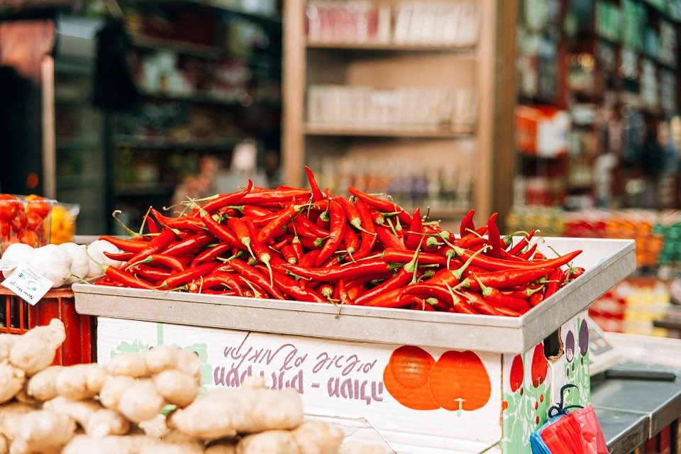 chillies on a table