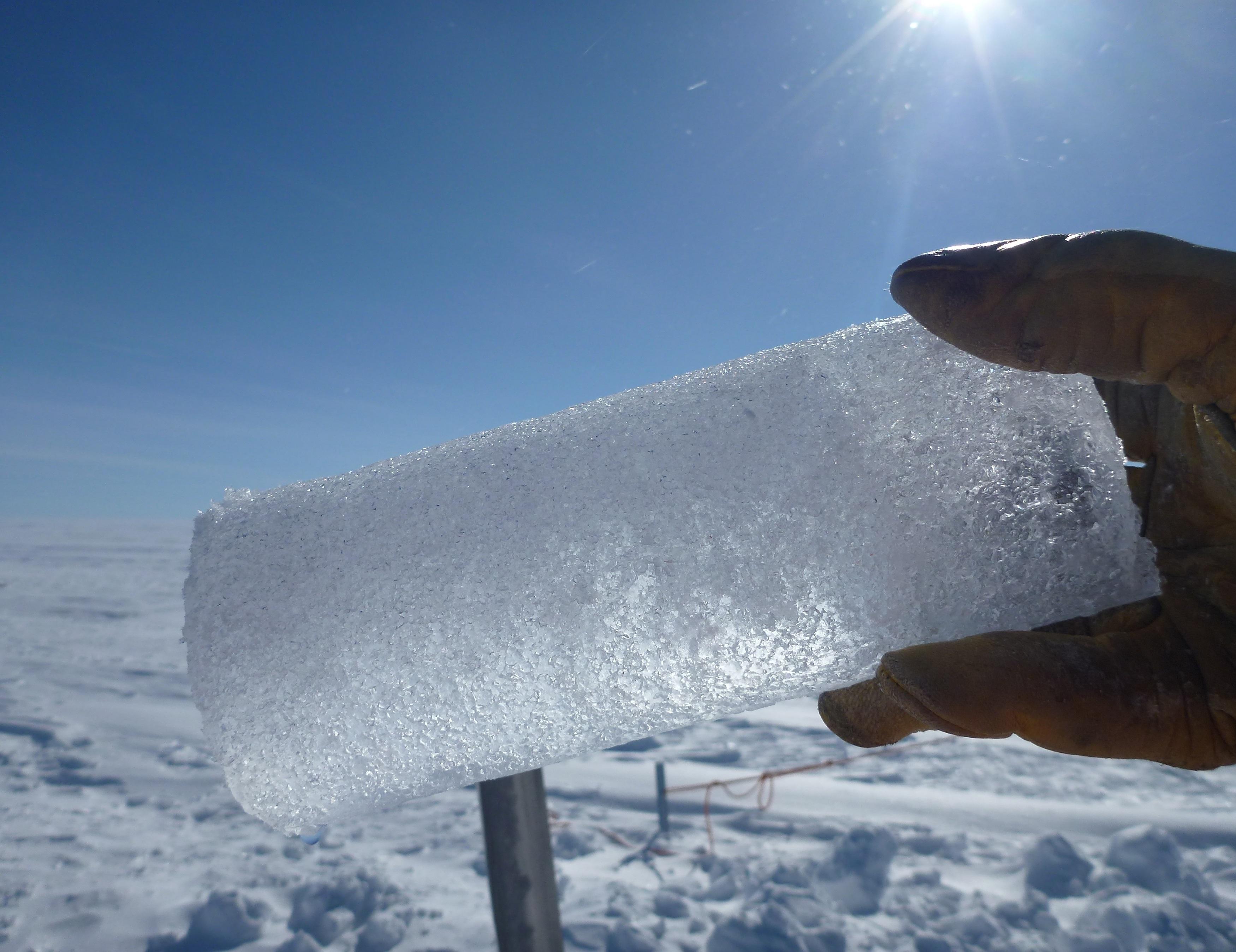 An ice core segment extracted in Antarctica