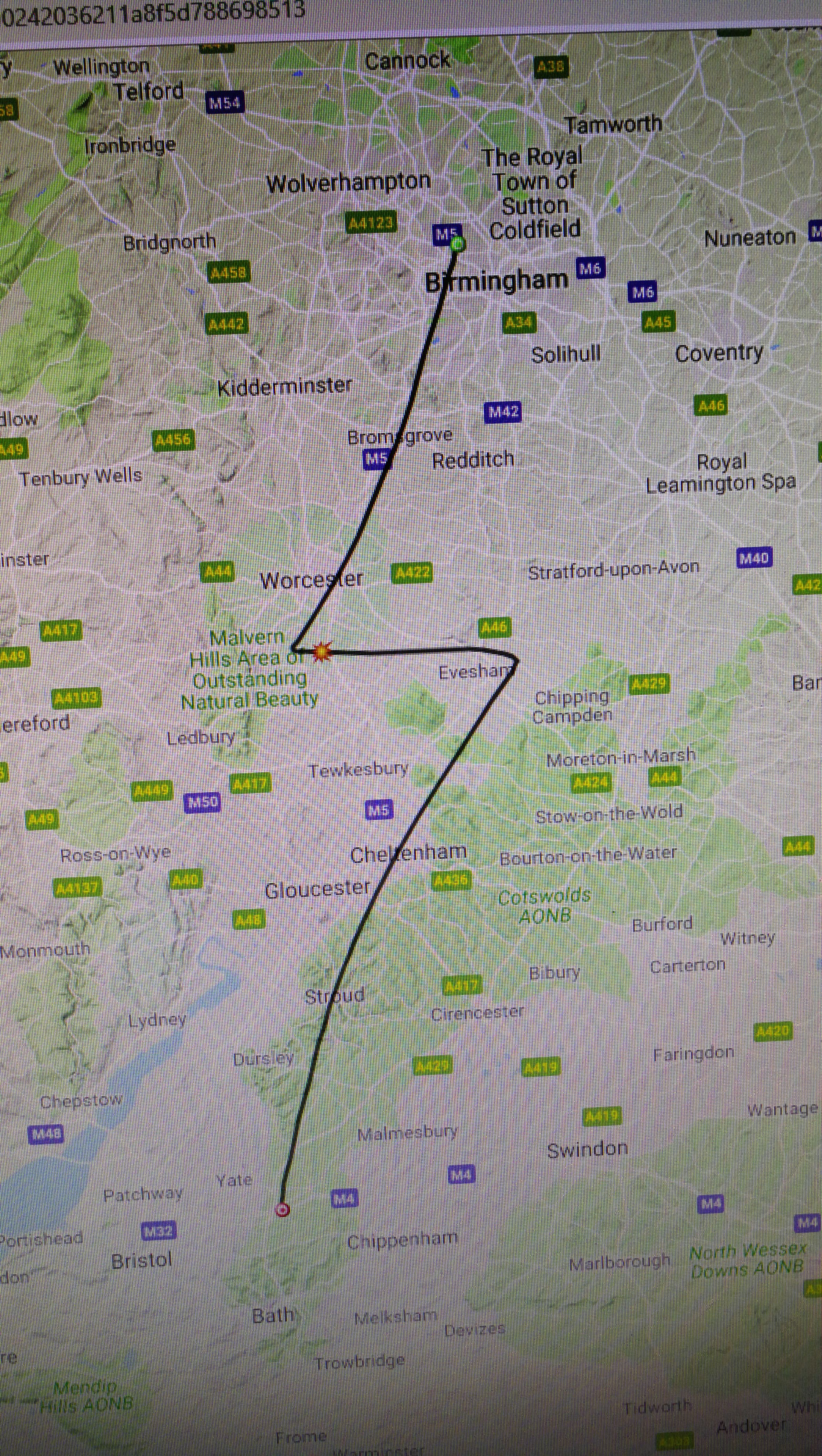 Route followed by the helium balloon after take-off near Bath to recovery 100 miles away near Birmingham