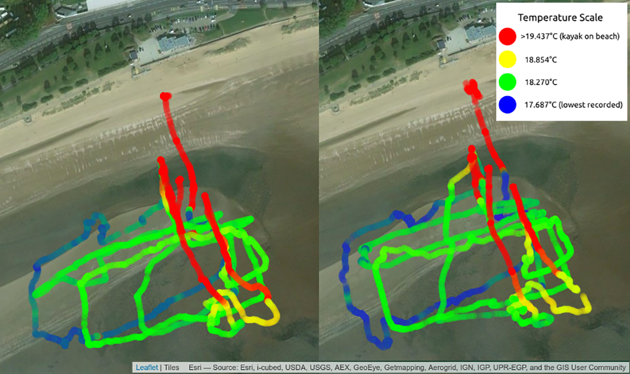 Temperature maps from Sonic Kayaks in Swansea Bay