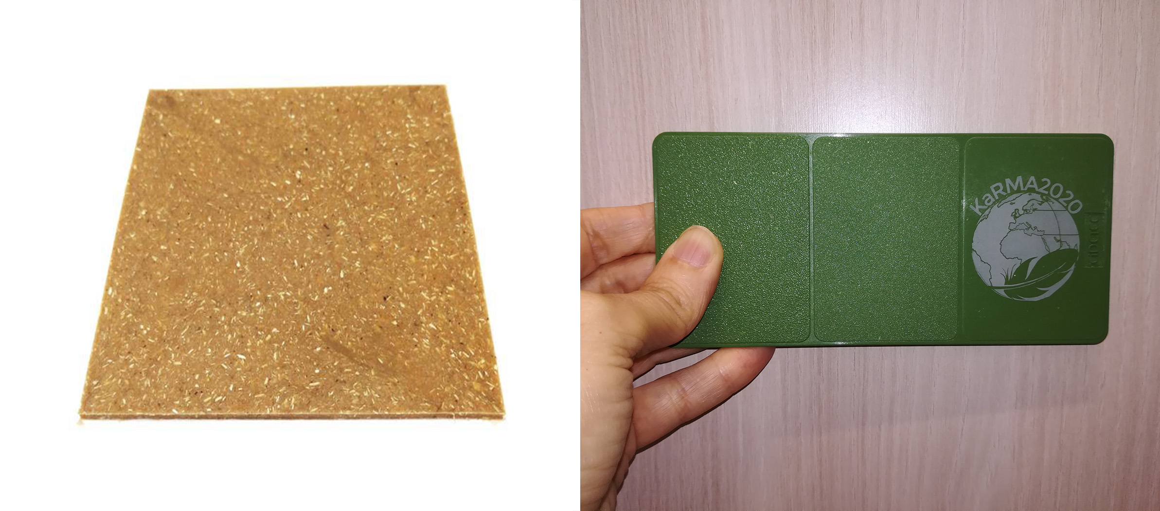 Chicken feathers can be used as raw material for composites (left) or for moulded plastic alternatives (right).