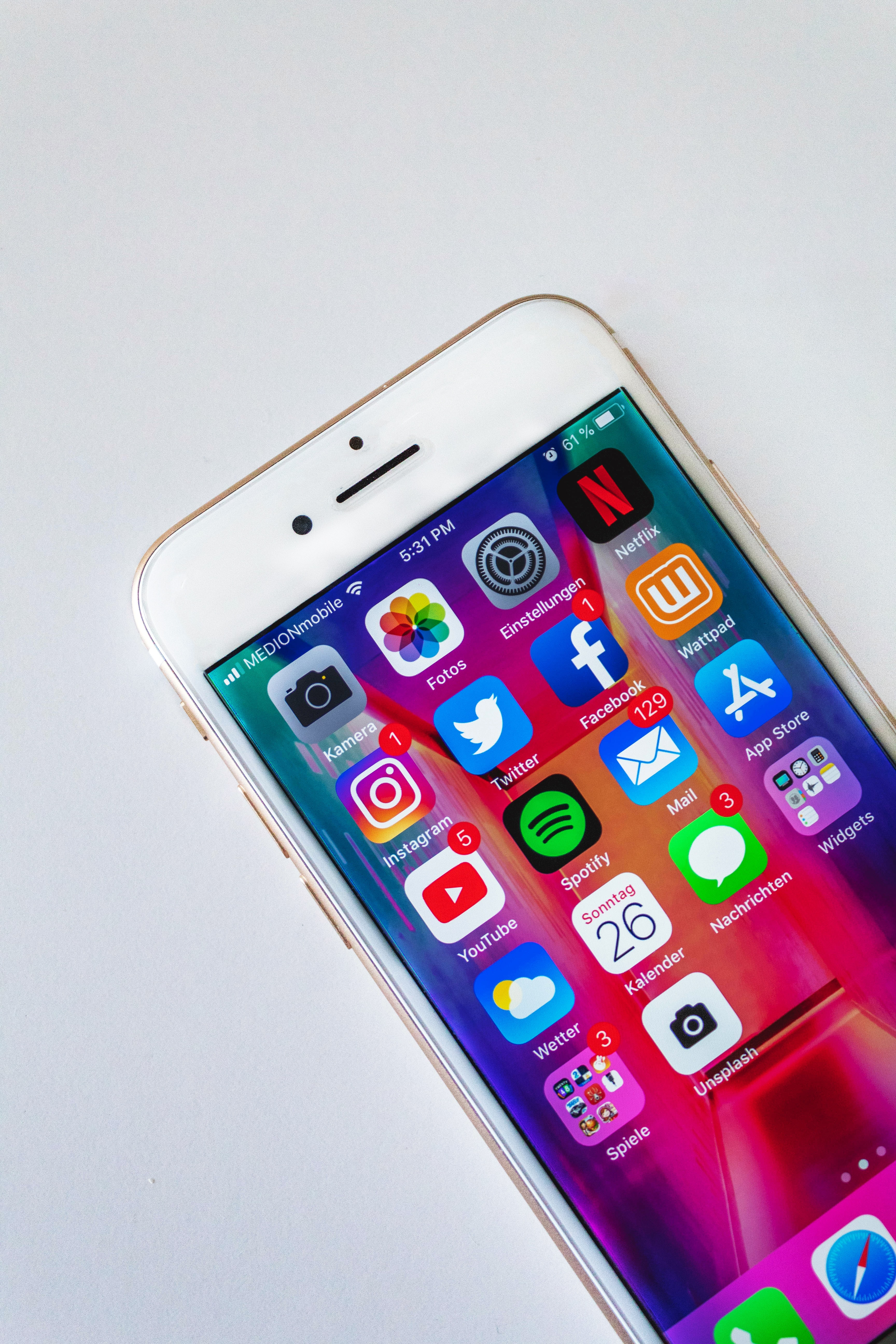 A smartphone, increasingly used to access social media and other online resources