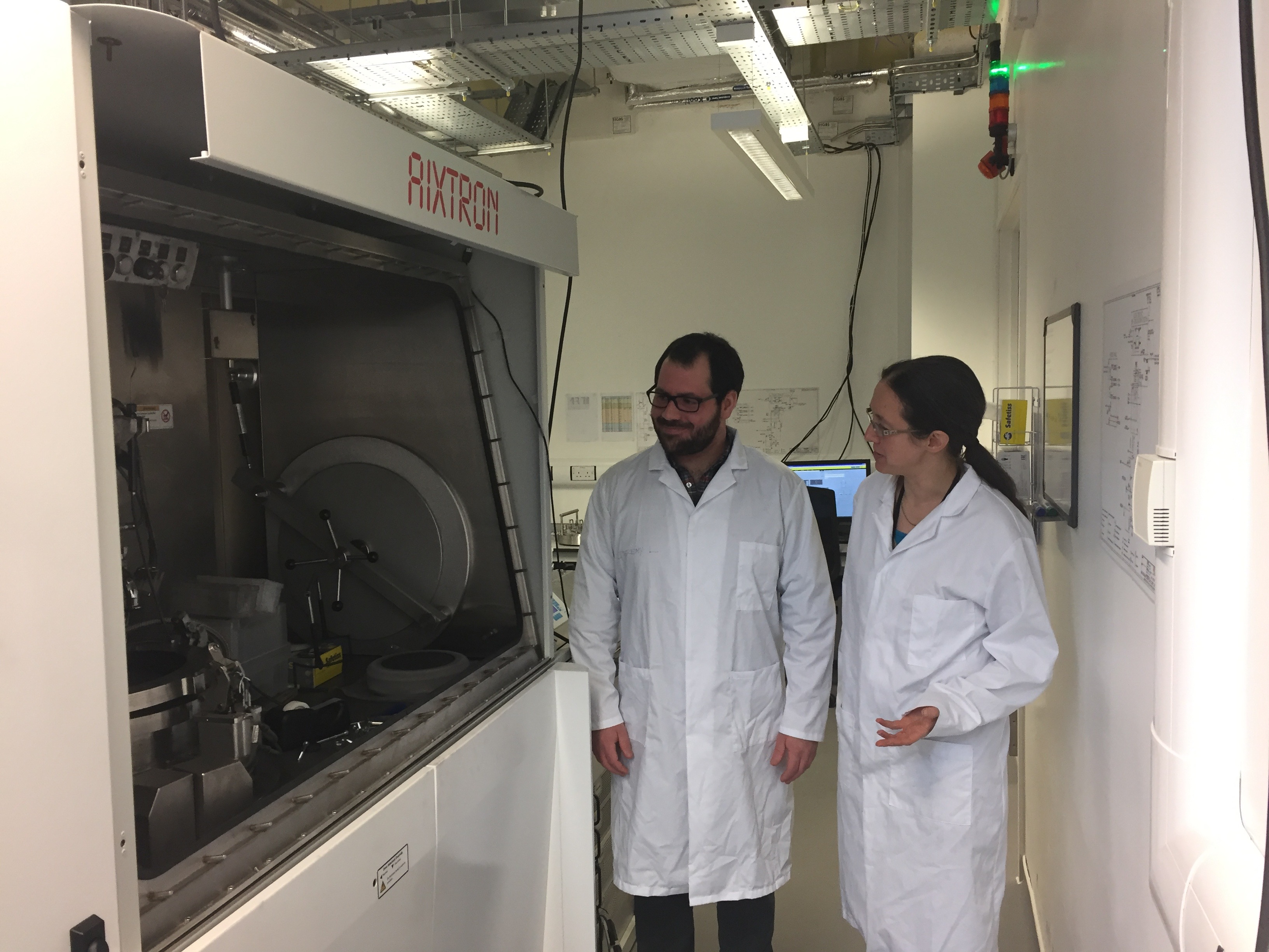 Rachel and Tom with a crystal growth system