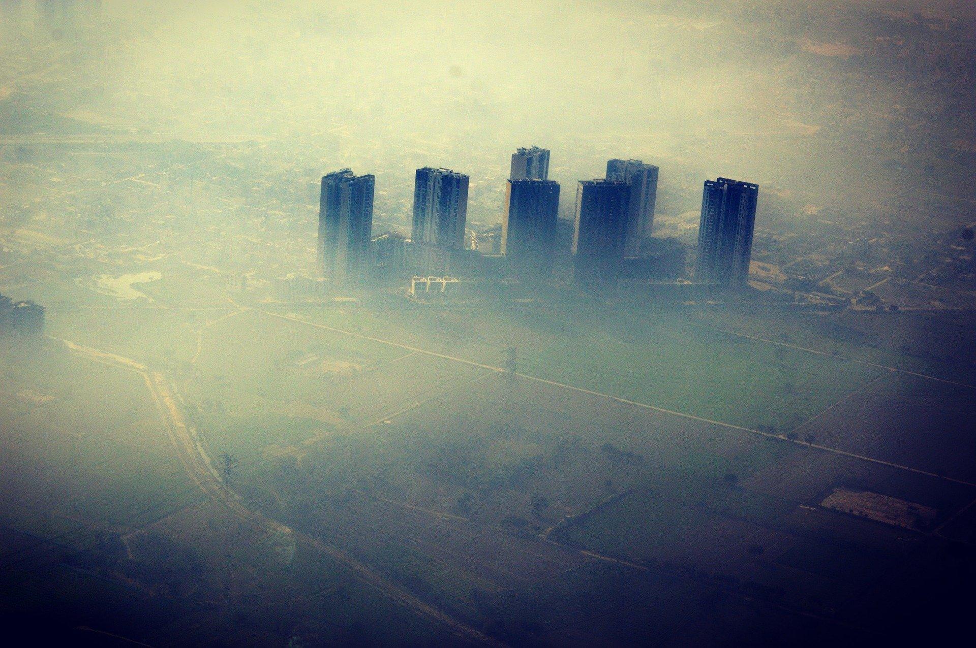 Air pollution above a city
