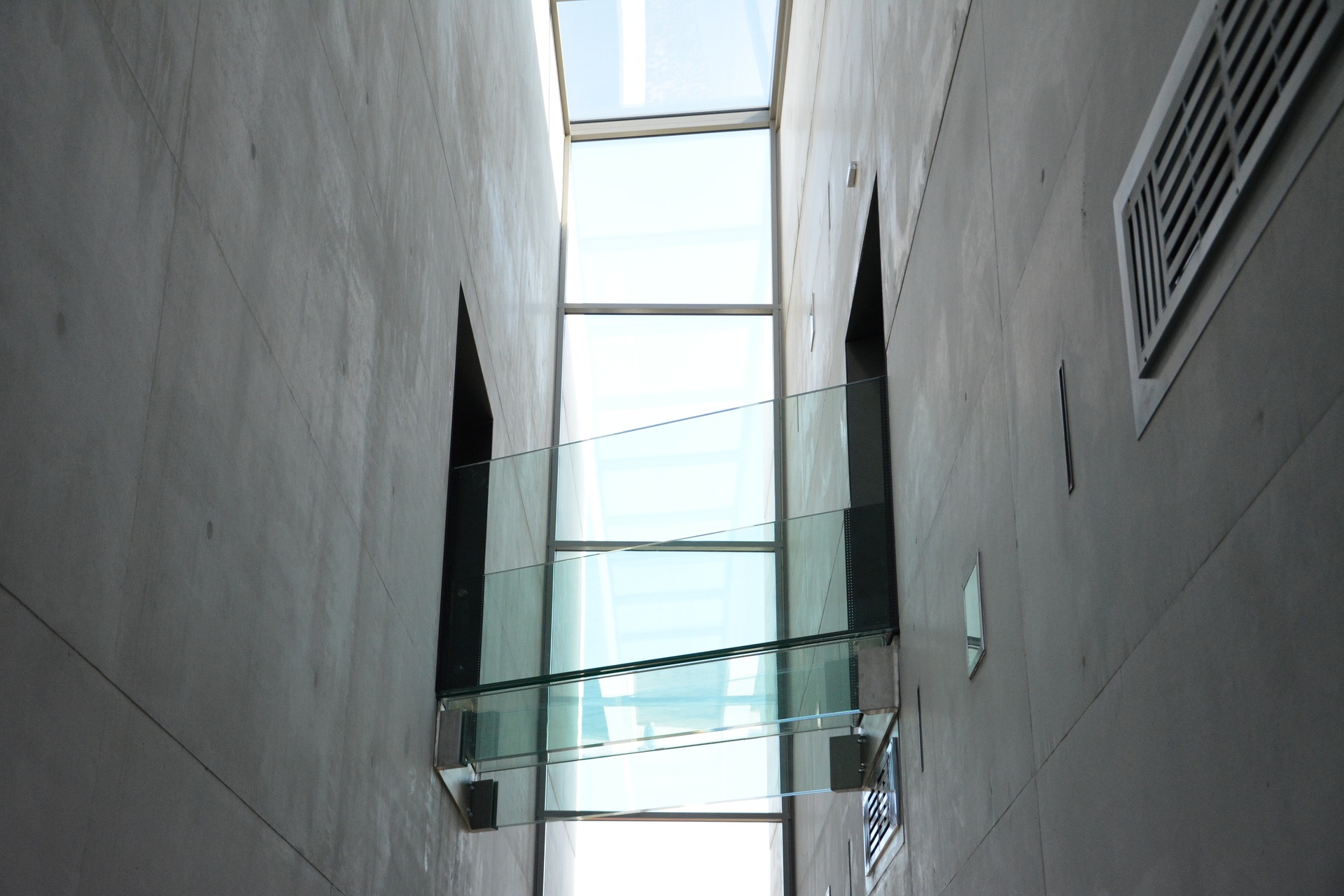 Glass bridge between two buildings